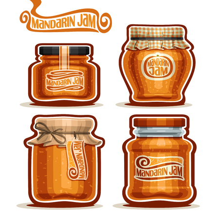 checkered label: Vector Mandarin Jam in Jars with paper cover lid, rustic Pot home made mandarin jams, twine rope bow, set homemade fruit jam jar, farm jelly pot with label, checkered cloth cap, isolated on white