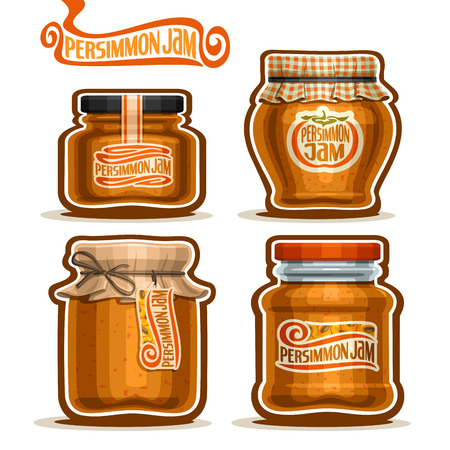 checkered label: Vector Persimmon Jam in Jars with paper cover lid, rustic Pot home made persimmon jams, twine rope bow, homemade fruit jam jar, farm dessert pot with label, checkered cloth cap, isolated on white