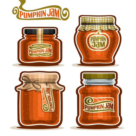 checkered label: Vector Pumpkin Jam in Jars with checkered paper lid, rustic Pot home made pumpkin jams, twine bow, homemade fruit jam jar, farm halloween dessert autumn harvest pot with label, isolated on white.