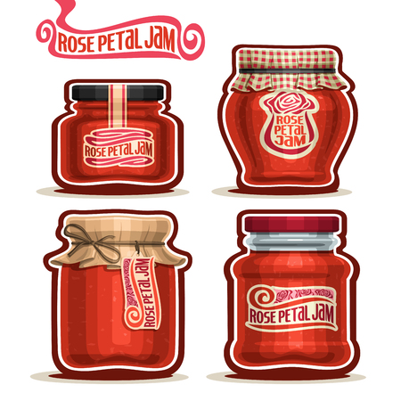 checkered label: Vector Rose Petal Jam in Jars with paper cover lid, pink Pot home made rose petal jams, twine rope bow, homemade jam jar, floral nectar jelly pot with label, checkered cloth cap isolated on white Illustration