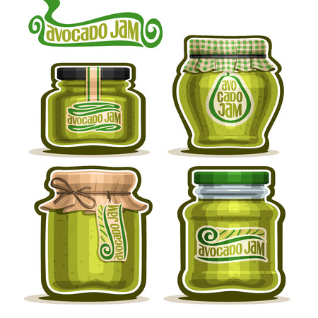 jams: Vector Avocado Jam in Jars with paper cover lid, rustic Pot home made avocado jams, twine rope bow, set homemade fruit jam jar, green jelly pot with label, checkered cloth cap, isolated on white.