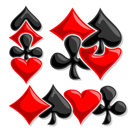 gamble: Vector cards Suits, three abstract set gamble Poker card suits: black spades, red hearts, diamonds, clubs for icon casino, poker club, emblem for gambling games, isolated on white background.