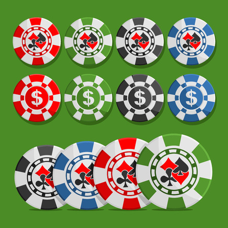 Vector poker Chips: eight different playing tokens set, colorful casino chips with dollar sign, chip with icon cards suits: black spades, red hearts, diamonds, clubs isolated on green background.