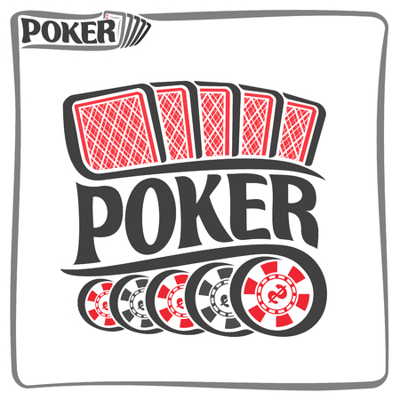 gamble: Vector of holdem Poker, consisting of five red playing cards back for gambling game and 5 black plastic tokens chips with dollar sign for casino, poster for poker gamble games on white background