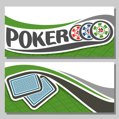 pokers: Vector of holdem Poker, consisting of flying playing cards back for gambling game on green felt table in casino club, cover banner for pokers gamble games, in header 3 colorful abstract chips.