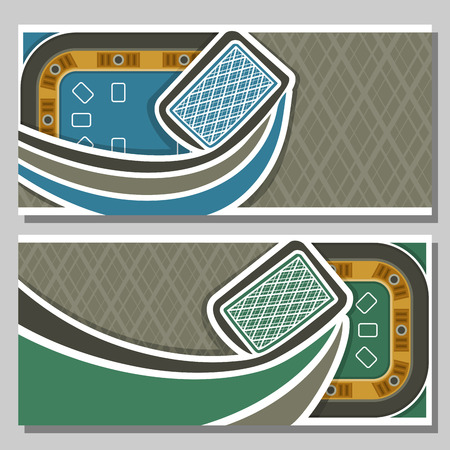 pokers: Vector of holdem Poker, consisting of flying playing cards back for gambling game on green blackjack felt table in casino club, cover banner for pokers gamble games, abstract illustration header.