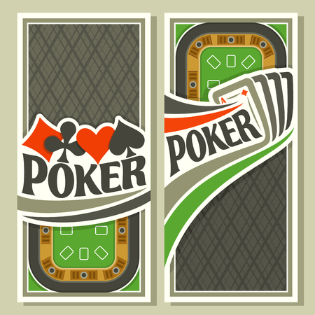 gamble: Vector of holdem Poker: four playing cards ace diamonds for gambling game on green felt table in casino club, vertical banner for pokers gamble games, card suits: spades, hearts, diamonds, clubs. Illustration