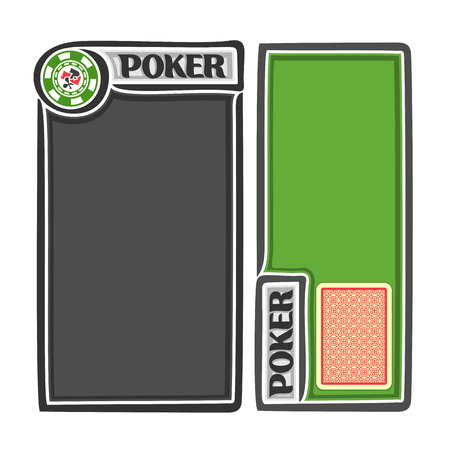 gamble: Vector holdem Poker: red deck playing cards for gambling game, two isolated vertical banners for text, score notes, title for casino clubs, chips with card suits, posters for poker gamble games. Illustration