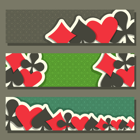 gamble: Vector of holdem Poker, blackjack suit for gambling game on green texture felt in casino club, cover banner for pokers gamble games, header cards suits: black spades, red hearts, diamonds, clubs. Illustration