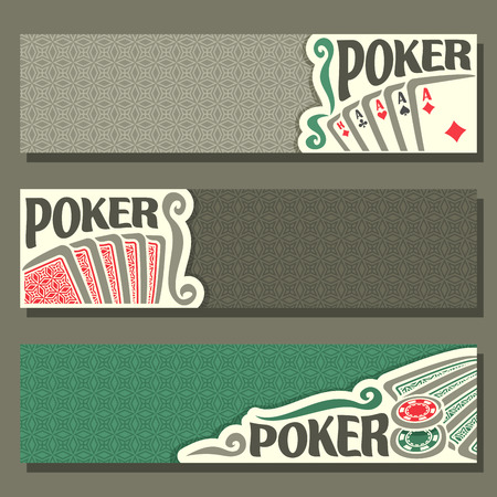 pokers: Vector of holdem Poker, playing cards back for gambling game on green texture felt table in casino club, cover banner for pokers gamble games, in header card set hand: four of kind, token chips. Illustration