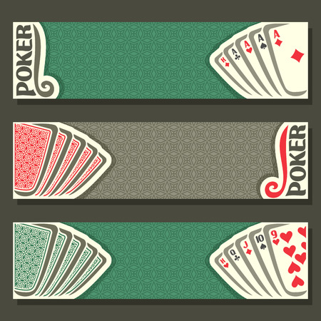 pokers: Vector of holdem Poker, playing cards back for gambling game on green texture felt table in casino club, cover banner for text pokers gamble games, in header card set hand: four of kind, straight