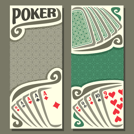 pokers: Vector of holdem Poker, playing cards back for gambling game on green texture felt table in casino club, vertical banner for text title pokers gamble games, card set hand: four of kind, straight