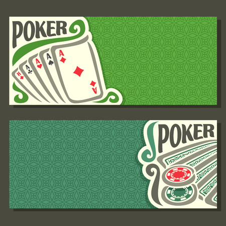 pokers: Vector of holdem Poker, playing cards back for gambling game on green texture felt table in casino club, cover banner for text title pokers gamble games, in header card hand: four of kind, chips.