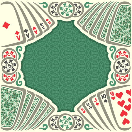 pokers: Vector holdem Poker: vintage poker table with retro playing cards green back, dollar sign on token casino chips, gamble game, set hand combinations: four of kind, straight; gambling pokers card.