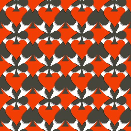 Vector Seamless Pattern Cards Suits: black spades, red hearts, diamonds, clubs on white background for casino, wallpaper seamless pattern for poker club, abstract card suit texture for gambling games. Illustration