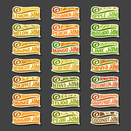 jams: Vector Set colorful Fruits Jam Labels: collection set of abstract label lemon jam, decoration fruit or design sticker of apricot jams, illustration cartoon emblems isolated on black background. Illustration