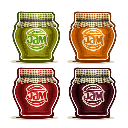 jams: Vector Fruit Jam in glass Pot with checkered cloth cover lid tied rope, rustic pot home made strawberry jams, set homemade fruit jam jars, farm orange dessert in jar with label, isolated on white Illustration
