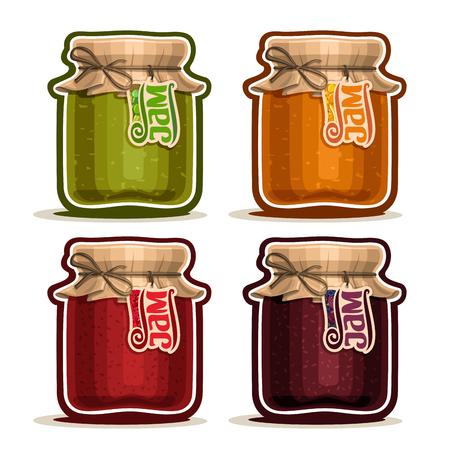 Vector Fruit Jam en pot de verre avec un arc couvercle de couverture de papier de ficelle attachée, pot rustique fait maison framboise confitures, mis en bocaux de confiture maison de fruits, ferme abricot dessert dans des pots avec un tag étiquette, isolé sur blanc