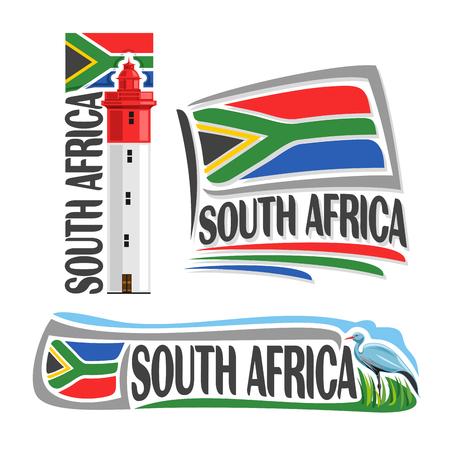 Vector Zuid-Afrika, 3 geïsoleerde beelden: vuurtoren bij Umhlanga Rocks op de achtergrond nationale staat vlag, symbool RSA, banner Republiek Zuid-Afrika, Zuid-Afrikaanse vlag vlaggen, vogel blauwe kraan