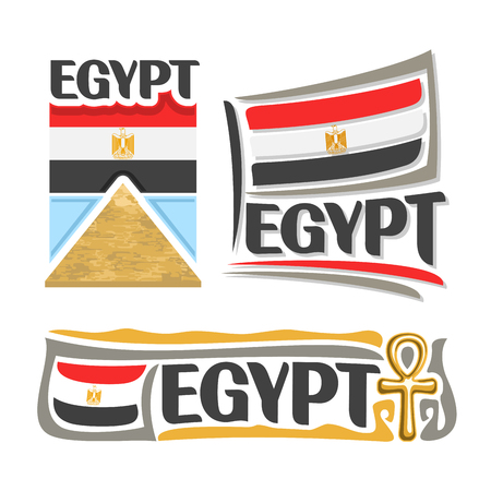 ankh cross: Vector Egypt, 3 isolated images: ancient great pyramid in Giza on background national state flag, banner symbol arab republic of egypt, Egyptian ensign flags, egyptian cross amulet, ankh souvenir