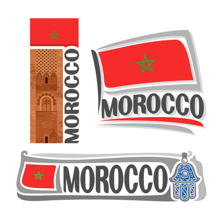 fatima: Vector Morocco, 3 isolated images: ancient landmark Hassan tower in Rabat on background national state flag, symbol kingdom of morocco architecture, moroccan ensign flags, hand of Fatima amulet. Illustration