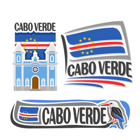 country flags: Vector Cabo Verde, 3 isolated images: catholic church in Sao Filipe on background national state flag, symbol Republic of cabo verde architecture, cape verde flags, bird grey-headed kingfisher.