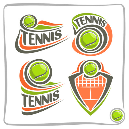 sporting equipment: Vector abstract lawn Tennis Ball, decoration sign sports club, simple green ball flying on ground court with net, set isolated sporting equipment icon, flat design concept tennis school blazon.
