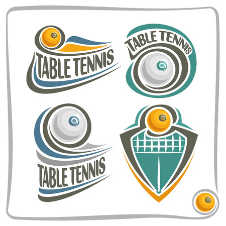 sporting equipment: Vector abstract Table Tennis Ball, decoration sign sports club, simple table tennis ball flying in goal with net, set isolated sporting equipment icon, design concept table tennis insignia blazon. Illustration