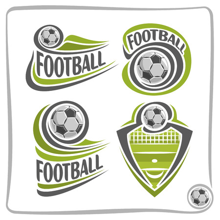sporting equipment: Vector abstract Football Ball, decoration sign sports club, simple soccer ball flying on green field with net, set isolated sporting equipment icon, flat design concept football school blazon. Illustration