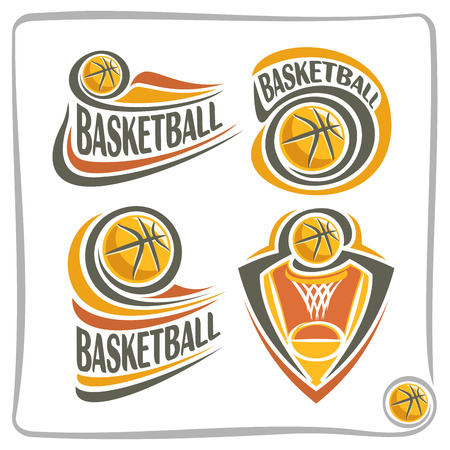 blazon: Vector abstract Basketball Ball, decoration sign sports club, simple line contour orange ball flying in basket with net, isolated sporting cup equipment icon, flat design basketball school blazon