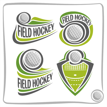 sporting equipment: Vector abstract Field Hockey Ball, decoration sign sports club, simple line contour ball flying above green grass in goal, isolated sporting equipment icon, flat design field hockey school blazon Illustration