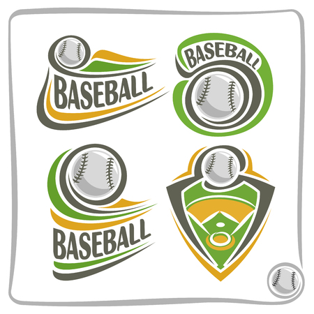 blazon: Vector abstract Baseball Ball, decoration sign sports club, simple line contour stitched ball flying above green field, isolated sporting equipment icon, flat design baseball game school blazon.
