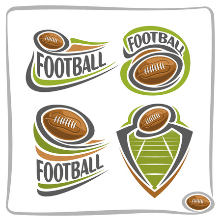 blazon: Vector abstract american Football Ball, decoration sign sports club, simple line brown ball pigskin flying above green field in goal, isolated sporting icon, flat design football school blazon.