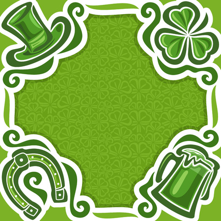 Vector abstract poster for St. Patricks Day on Shamrock background, greeting Clover flyer for congratulation title text, hat saint patrick day on shamrock leaf pattern ornament, clover foliage lawn. Illustration