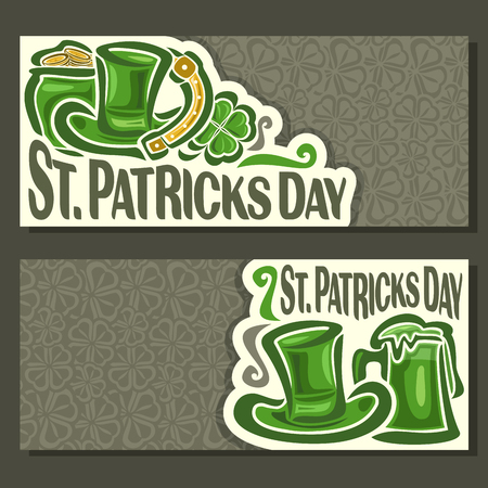 clover banners: Vector abstract Banners for St. Patricks Day fest on Shamrock gray background, greeting card Clover banner for congratulation text, invitation on saint patrick day with cylinder hat, pot, coin, mug. Illustration