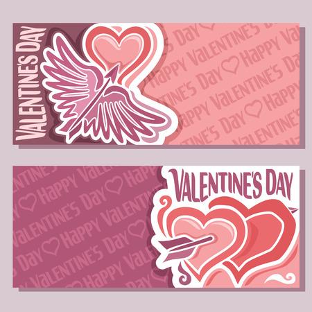 Banderas abstractas del vector para el día de San Valentín, volante de color rosa: flecha con alas corazón traspasado, tarjeta de felicitación de San Valentín rojo con corazones sencillos, banner horizontal para el texto amantes de las vacaciones de San Valentín