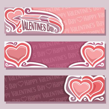 Banderas abstractas del vector para el día de San Valentín, cabecera de color rosa: vuelo de la flecha en el corazón, rojo púrpura tarjeta de San Valentín con corazones de felicitación simples, banner horizontal para el texto amantes de las vacaciones de San Valentín