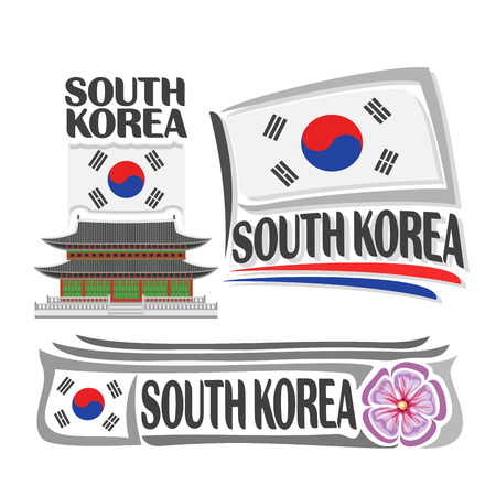 korean national: Vector South Korea, 3 isolated images: vertical banner gyeongbokgung palace in Seoul on background korean national state flag, symbol south korea architecture, taegeuk on flags, rose of sharon.