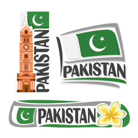 Vector Pakistan, 3 isolated images: vertical banner faisalabad clock tower on pakistani national state flag, architecture symbol pakistan, jasmine flower or frangipani, crescent on ensign flags.