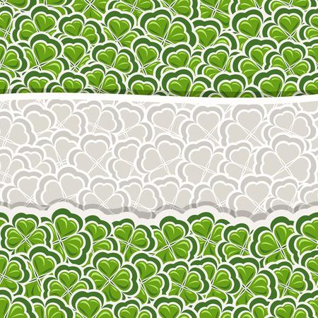cloverleaf: Vector Clover Pattern for St Patricks Day, Green Shamrock banner with border for greeting text, ornament clover foliage, gray shamrock pattern, floral background irish patrick trefoil, green art lawn Illustration