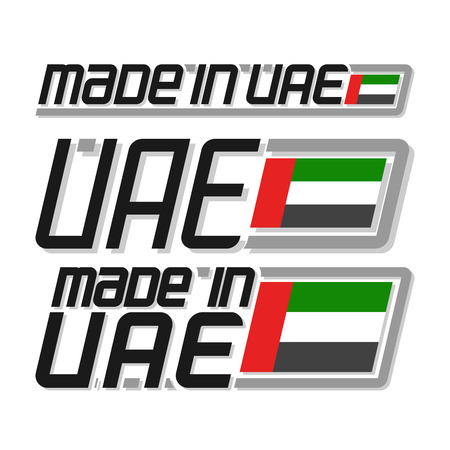 cachet: Vector illustration made in UAE, set isolated arabic simple flags drawings, arabian national state flag and text uae on white, official ensign United Arab Emirates for independence day islam country