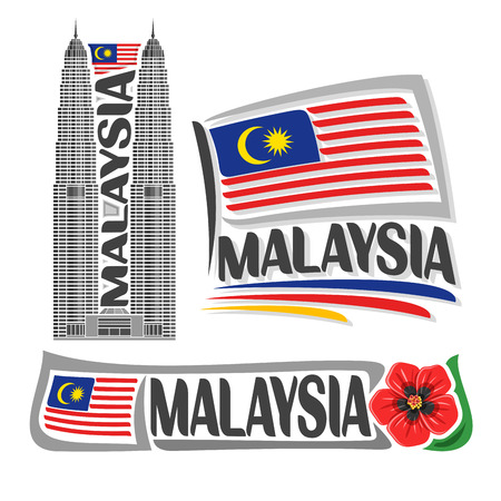 Vector logo Malaysia, 3 isolated images: vertical banner skyline petronas twin towers on malaysian national state flag, symbol of malaysia red hibiscus flower, malay ensign flags jalur gemilang.