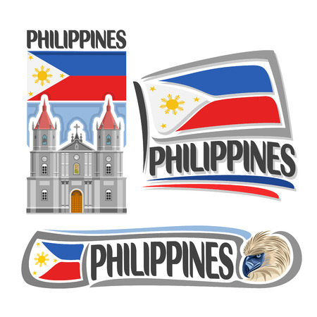 Vector logo Philippines, 3 isolated images: vertical banner molo church in iloilo on filipino national state flag, symbol of philippines head of philippine eagle, minimalistic pilipinas ensign flags. Ilustração