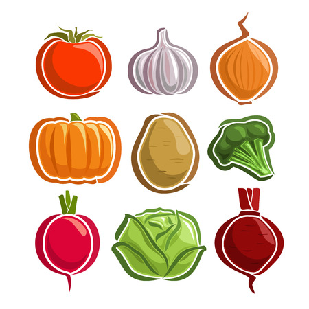 Vector Set Vegetables simple Logo: tomato, garlic, onion, pumpkin, potato, broccoli, radish, cabbage, beetroot; abstract primitive simplistic vegetables logo or minimalistic icon, isolated on white.