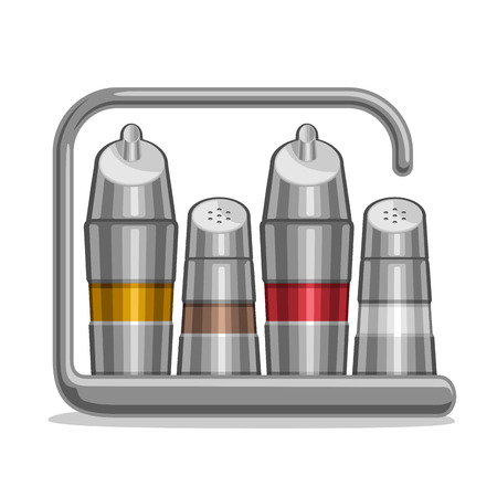 Vector illustration Set metal Shakers for salt and pepper, chrome holder bottles with olive oil and red wine vinegar, steel futuristic set containers for condiments, stainless high tech rack of shaker Vettoriali