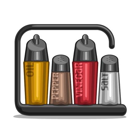 Illustrazione vettoriale Set agitatori di vetro per sale e pepe, bottiglie di supporto nero olio d'oliva e aceto di vino rosso, contenitori di classici per condimenti, plastica moderna cremagliera di shaker con iscrizione.