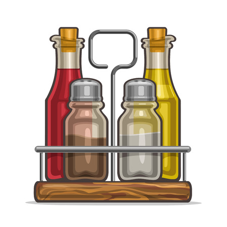 Vector illustration Set glass Shakers for salt and pepper, metal holder bottles with cork olive oil and red wine vinegar, classic rack for containers of condiments, wooden tray of shaker saltcellar.