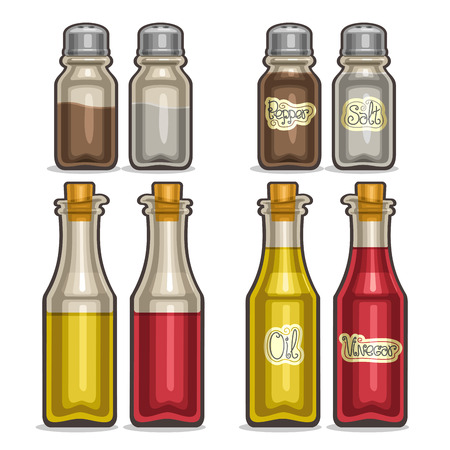 Vector illustration Set glass Shakers for salt and pepper, classic shiny bottles olive oil and red wine vinegar, vintage decor saltcellar, set containers for condiments, half shaker spices with label.