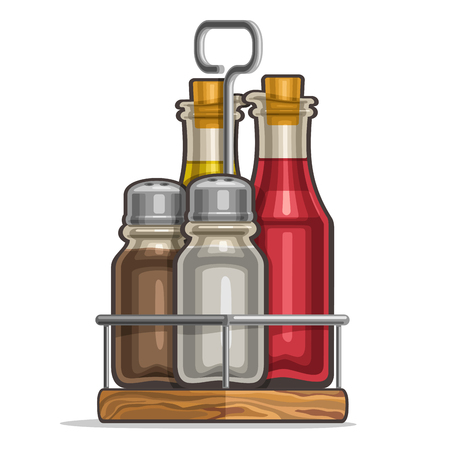 Vector Set glass Shakers for salt and pepper, metal holder bottles with cork olive oil, red wine vinegar, classic rack for containers of condiments, wooden tray of shaker saltcellar 3/4 view on white.