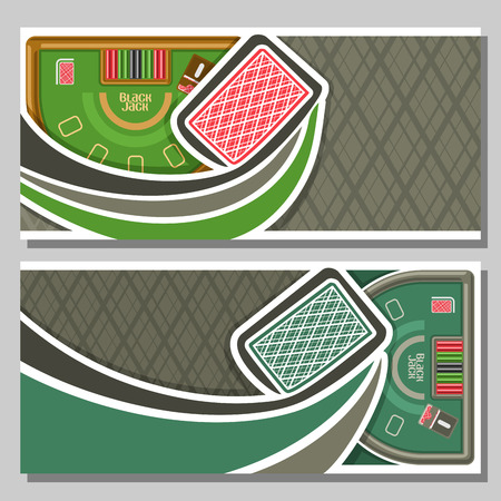black jack: Vector horizontal banners of Black Jack for text: flying playing back card for gambling game on green blackjack table with equipment in casino club, layout banner for fun gamble black jack tournament. Illustration